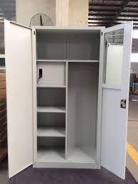 metal cupboard with mirror and inside safe box steel 2 doors filing cabinet for army
