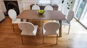 extending trendy walnut dining table and chairs brushed metal legs intended for kitchen plan 4