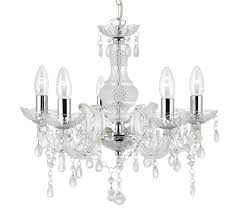 searchlight marie therese 5 light chandelier chrome finish with acrylic detail droplets 1455 5cl