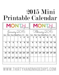 Printable Small Calendar 2015 Calendar Printable Mini Planner Get