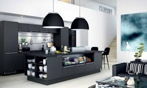 black modern furniture. Plain Black Contemporary Kitchen Decoration Along With Black Furniture Color And Double  Pendant Lamp Also Modern And Black Modern Furniture