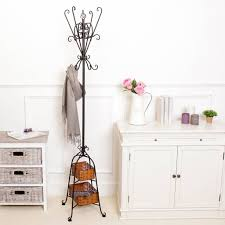 Wrought Iron Coat Rack Stand Slender Black Iron Coat Stand With Baskets Coat stands Free 68