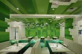 Restaurant with Green Blocks Interior Theme  Post Script Restaurant