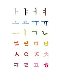 Korean Letters Korean Alphabet Art Poster 11x14 Korean Alphabet Korean