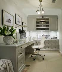 home office built ins. gray office with l shaped desk beveled top white chair built in cabinets glossy cabinet moldings polished nickel home ins f