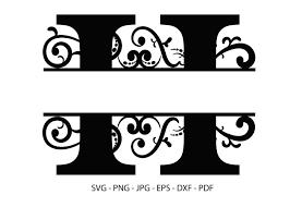 I love these split letter alphabet svg files! H Alphabet Split Font Monogram Graphic Graphic By Redcreations Creative Fabrica