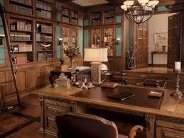 fancy home office. Classic Wood Workspace Office Feature Brown Work Table With Cabinets And Carving Fancy Home O