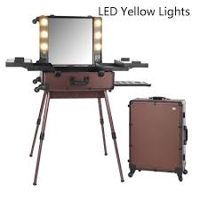 2016 professional makeup artist station case cosmetic rolling box light mirror beauty bag led yellow light