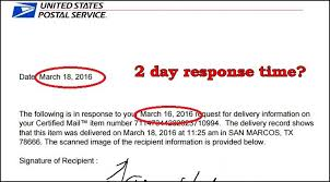 Usps Certified Mail Signature Delay