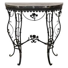 iron console table. Hollywood Regency Style Italian Wrought Iron Console Table With Marble Top For Sale 7