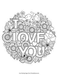 Valentines Day Coloring Pages Ebook I Love You Zen Doodle