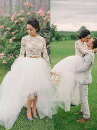 buy fancy two piece long sleeves hi low organza wedding dress lace