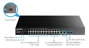 edimax switches poe 16 port fast ethernet poe and 8 fast es 5216p 16 port fast ethernet poe and 8 fast ethernet ports 2