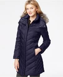 kenneth cole faux fur trim chevron quilted down coat