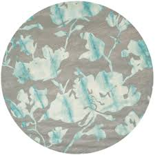 safavieh dip dye gray turquoise 7 ft x 7 ft round area rug