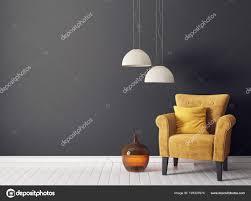 Moderne Woonkamer Met Gele Leunstoel Lamp Scandinavisch Interieur