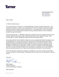 Letter Of Recommendation For Project Manager Turner Construction Letter Of Recommendation