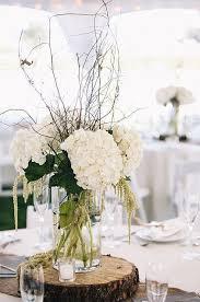 rustic white wedding reception centerpiece