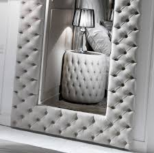 Small Picture Large Modern Button Upholstered Nubuck Leather Wall Mirror