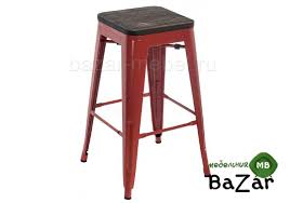 <b>Барный стул Tolix</b> Bar wood CColl red brown walnut