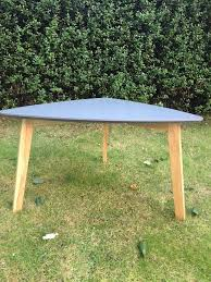 scandanavian style dark grey coffee table mdf top light wood legs used condition