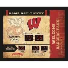 Ncaa Wisconsin Badgers Blue Tooth Ticket Stub Clock