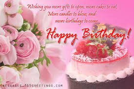 Nice Sayings Happy Birthday Greetings With Flowers And Cake