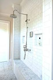 marble subway tile bathroom traditional white and black