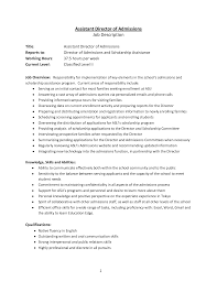Cover Letter Director Of Admissions Cover Letter Assistant
