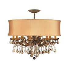 crystorama lighting crystal chandelier with gold shade in antique brass finish 4489 ab shg