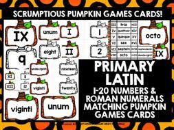 Primary Latin Numbers Roman Numerals 1 20 Pumpkin Games Cards