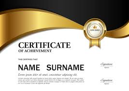 Black With Golden Certificate Template Vectors 02 Free Download