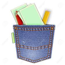 Denim Pocket Isolated On White Background With Pencils And Business