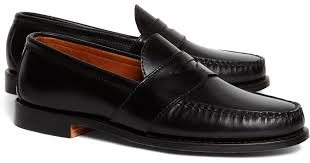 brooks brothers rancourt co leather sole loafers in black for men lyst