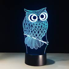 3d novelty light owl acrylic 7 color changing 3d led nightlight with owl night light prepare t