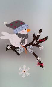 Fensterbild Vogel Auf Dem Zweig Winter Weihnachten