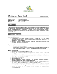Supervisor Job Description Resume Unusual Restaurant Supervisor Job Description Resume Images Entry 6
