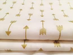 Metallic Home Decor Gold Arrow Fabric Metallic Gold Geometric Pattern For Baby