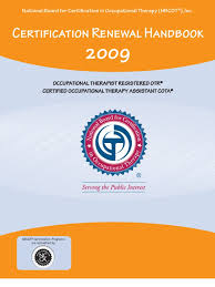 Form Certification Renewal Handbook 2009 Occupational Therapy