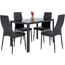 dining table chairs leather. best choice products 5-piece dining table set w/ glass top, 4 leather chairs l