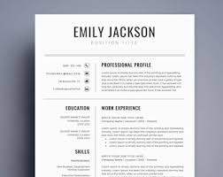 Resume Template Etsy Professional Resume Template