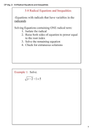 cp alg 2 5 8 radical equations and