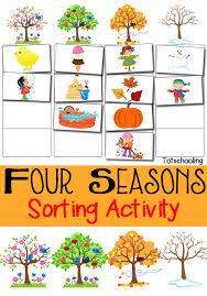 Seasons Chart Kindergarten Four Seasons Sorting Activity Free Printable Totschooling