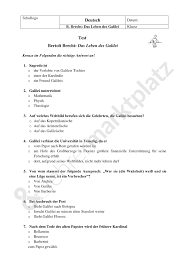 multiple test multiple choice test leben des galilei bertolt brecht deutsch