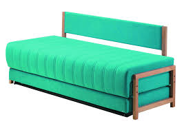 rectangle blue fabric Sofa Bed Twin Size with back and has no arms ...