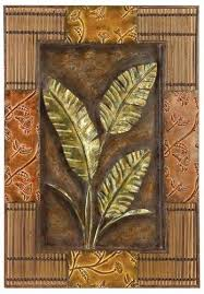 wall art ideas design brown wooden palm leaf framed tropicel decorations stained varnished interior flowers leaves