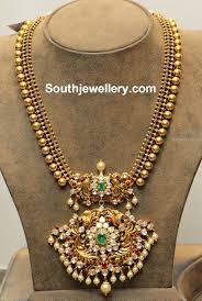 Antique Polki Jewellery Designs Antique Gold Balls Haram With Polki Pendant Gold Jewelry