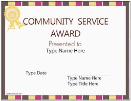 customer service award template community service award template community service award certificate