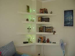 Corner shelves and wall lights, modern interior design ideas