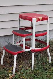 vintage red white cosco mid century kitchen step stool fold out chair retro